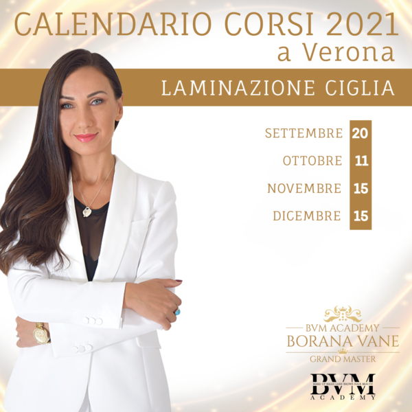 Calendario corsi Laminazione Ciglia Verona