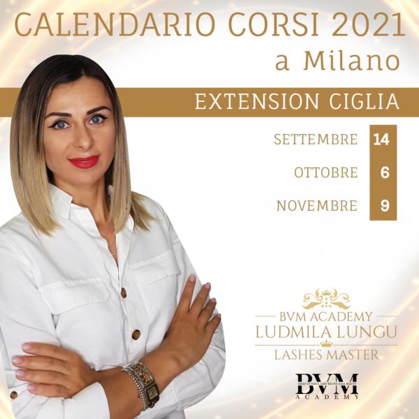 Calendario corsi Extension ciglia base Milano