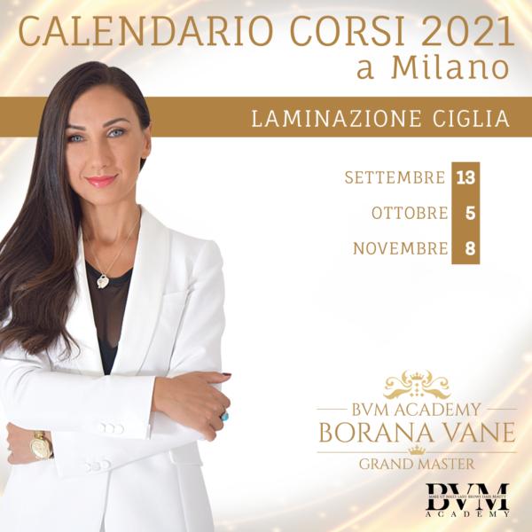 Calendario corsi Lam ciglia Milano