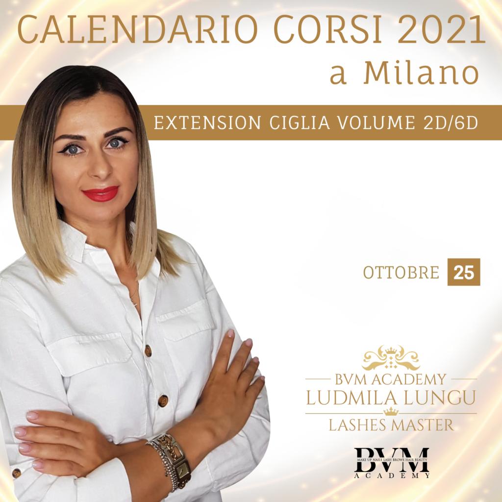 Calendario corsi Extension ciglia 2d/6d Milano